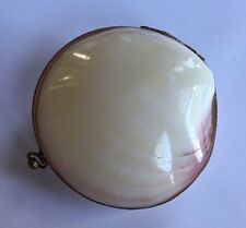 Antique Vintage Clam Sea Shell Brass Hinged Trinket Pill Box Coin Purse