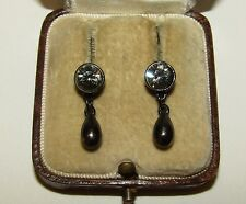 SUPERB, ANTIQUE, GEORGIAN, STERLING SILVER TREMBLEUSES EARRINGS/OLD CUT PASTE