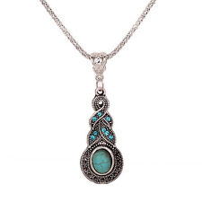 1pc New Vintage Retro Tibetan Silver Turquoise Pendant Alloy Necklace Chain Gift