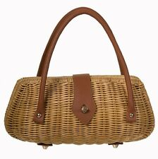 Banned Erin Handbag 1950's Wicker Bag Tiki Rockabilly Vintage Purse Natural