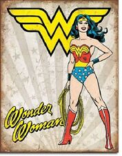 "12 1/2"" X 16"" TIN SIGN WONDER WOMAN HEROIC METAL SIGN NEW"