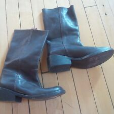 DKNY City Dark Brown Mid Calf Short Leather Boots Sz 5.5 Made in Brazil VINTAGE