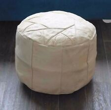 LIGHT TAN HANDMADE MOROCCAN POUF GENUINE LEATHER POUFFE OTTOMAN FOOTSTOOL