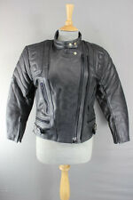 SPORTEX APOLLO BLACK LEATHER BIKER JACKET WITH REMOVABLE BACK PROTECTOR SIZE 10