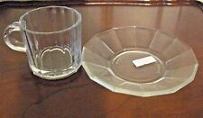 VTG 1970s BORMIOLI Clear Glass Demitasse Cup & Saucer VITROSAX ITALY - New OTHER