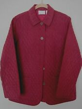 Womens Quilted Jacket Lightweight Button Front Burgundy Alfred Dunner 10P