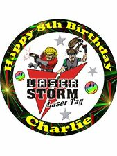 Laser Lazer storm Tag personalised birthday edible cake topper decoration round