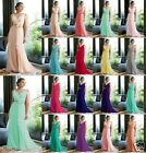 New V-neck Formal Bridesmaid Party Ball Gown Evening Dress SZ 6-8-10-12-14-16-18