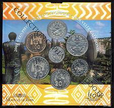 BU 2001. Coffret Les Pièces en Franc Pacifique. Nouvelle Calédonie. 7 pièces