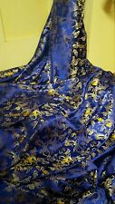 "1M royal blue dragon floral Chinese Brocade Fabric Shiny Silky, material 45""wide"