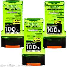 (14,83€/L) 3x 300ml Loreal Men Expert Pure Power Lemon Duschgel 100% NEU Männer