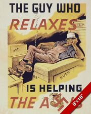 WWII GET BACK TO WORK LAZY ANTI AXIS PROPAGANDA POSTER REAL CANVAS ART PRINT