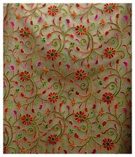 By 1 mtr, beige net kutch embroidered fabric multipurpose blouse pattern