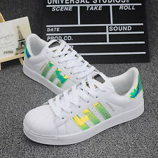 Women Ladies Striped Lace Up Sport Running Sneakers Trainer Men Shell Toe Shoes