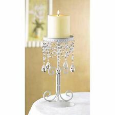 white Crystal bead bling chandelier candelabra shabby pillar Candle Holder stand