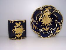 GRAF von HENNEBERG jlmenau ECHT KOBALT  CIGARETTE or TOOTHPICK HOLDER AND PLATE