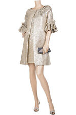 MARCHESA NOTTE CHAMPAGNE SILVER BROCADE SWING COAT M