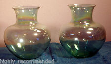 Glass Vases by Toyo - Pair of Two - Light Green