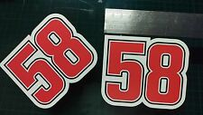 Simoncelli 58 Decal Sticker x2 Moto GP Racing laptop, helmet, bike, car, scooter