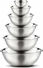 Stainless Steel Mixing Bowls (Set of 6) Polished Mirror Finish Nesting Bowls