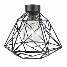 Brilliant TRINITY 26.5cm GEOMETRIC WIRE SHADE Ceiling Batten Light Fitting BLACK