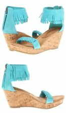 ☮ Minnetonka ☮ Aqua Nicki Ankle Fringe Wedge Sandals Size 8