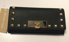NWT$168 Michael Kors Callie Stud Saffiano Leather Carryall Wallet Black