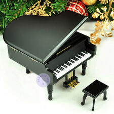 "Play ""Rock a Bye Baby"" Wooden Piano Music Box With Sankyo Movement (Black)"
