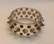 VINTAGE CLEAR LUCITE BANGLE BRACELET Gold Stud Spikes PUNK ROCK Grunge EMO