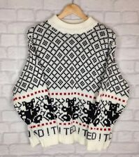 URBAN VINTAGE FISHERMAN AZTEC 90S GRANNY KNIT OVERSIZED COSBY JUMPER SWEATER S/M