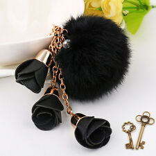 Leather flower tassel fur fluffy ball long key chain ring handbag pendant charm