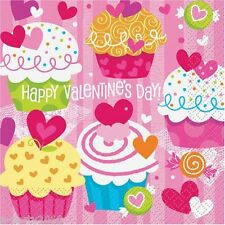 VALENTINE'S DAY Cupcake Hearts LUNCH NAPKINS (16)~ Birthday Party Supplies Love