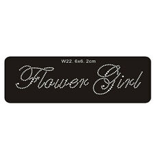 'Flower Girl' Crystal Rhinestone Wedding iron-on hot fix sticker - clear colour