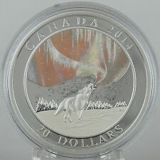 Canada 2014 $20 Howling Wolf & Story of the Northern Lights Hologram 1 oz Silver