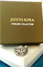 Judith Ripka SS & Diamonique Wrapped Ring / Sz 6 / Pouch and Box