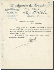 Lettera - Th HUET Vignaigrerie de l' Ouest a Brest 1906