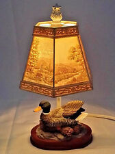 """Mallard Duck Table Lamp With 6 Panel Lithophane Plastic Shade Tested 11"""""""