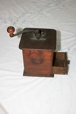 VINTAGE ANTIQUE CAST IRON & WOOD COFFEE GRINDER MILL HAND CRANK w/ DRAWER