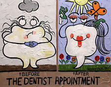 THE DENTIST APPOINTMENT COLLECTABLE DENTAL ART PRINT TEETH TOOTH ANTHONY FALBO