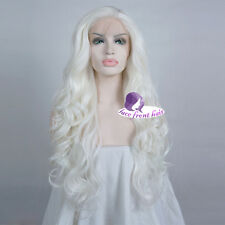 Fashion Lace Front Wig 24'' White Hitzefest Curly Cosplay Wig Party+ Wig Cap