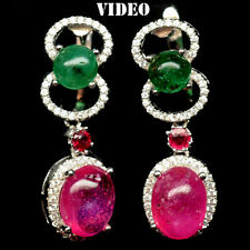 52 CTS!! HUGE!! NATURAL TRANSLUCENT RED RUBY & GREEN EMERALD SILVER EARRINGS