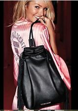 $85 NEW Victoria's Secret Bag Backpack Tote Gym Spring Black Leather w/ Fringes