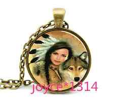 Vintage Woman with Wolf Cabochon Bronze Glass Chain Pendant Necklace *XP-1043