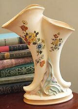 """VINTAGE PRINCETON CHINA VASE DOUBLE HORN W/TAG BISQUE CREAM GOLD FLORAL 11"""" H"""
