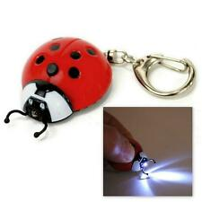 LOT OF 10 LED LIGHT LADYBUG KEYCHAIN Wholesale Red Lady Bug Animal Key Chai