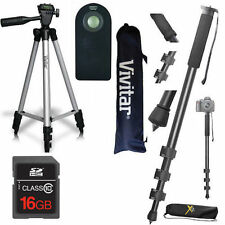 "50"" VIVITAR TRIPOD +  Pro 72"" MONOPOD + REMOTE +16GB CARD FOR NIKON D3400 D5000"