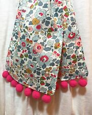 Liberty of London Handmade Spring/Summer Scarf with Pom Poms, Pale Blue Betsy