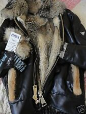 AVIATOR LEATHER BOMBER FLIGHT WOLF JACKET SILVER MASTERPIECE FUR MEN,NEW,SIZE XL
