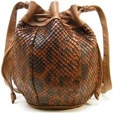 CHARLES KLEIN DRAWSTRING SHOULDER BAG ANACONDA SNAKE SKIN BRN PURSE HANDBAG BAG