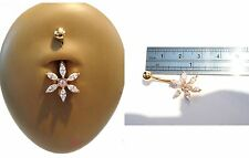 Gold Titanium Clear CZ Sun Burst Belly Curved Bar Barbell Ring 14 gauge 14g